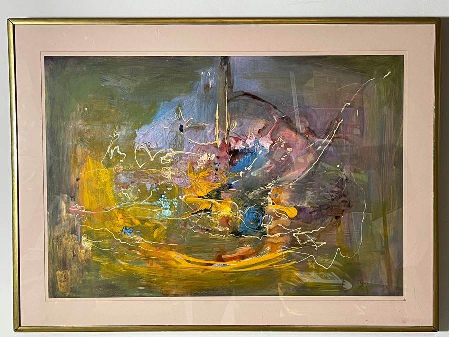 Original Joan Lohrey Framed Signed Abstract Modernist Painting 34 X 23 (Behind Plexiglass - Slight Background Reflection Showing Up In Photos)