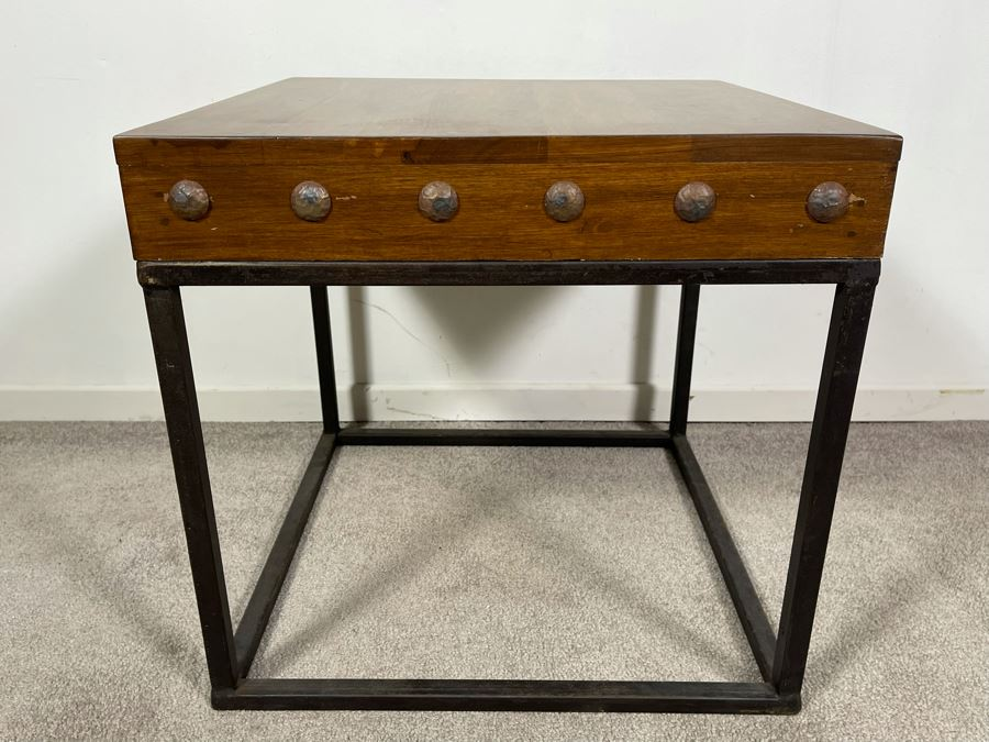 Industrial Wood Top With Steel Base Side Table 20W X 19H