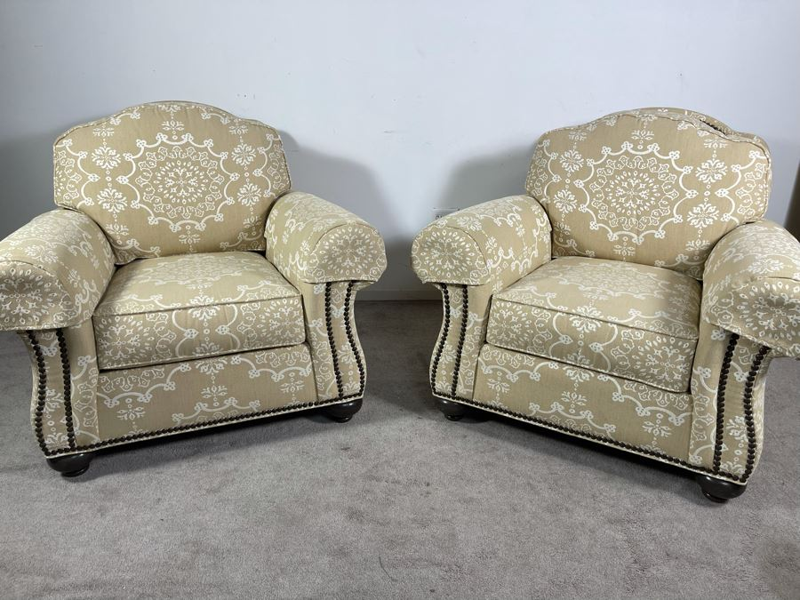 Pair Of Ethan Allen Featherblend Armchairs With Nailhead Trim 41W X 40D X 36H - Client's La Jolla Home Was Featured In San Diego Home/Garden Lifestyles Annual Remodeling Issue And These Were Pictured In Magazine - Retails $8,000