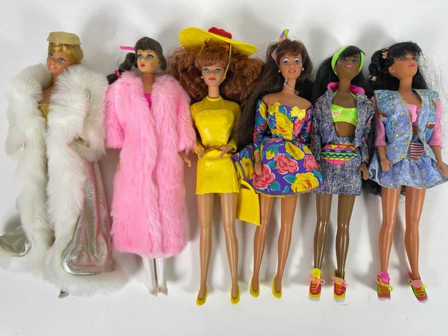 Six Mattel Barbie Dolls Out Of Package