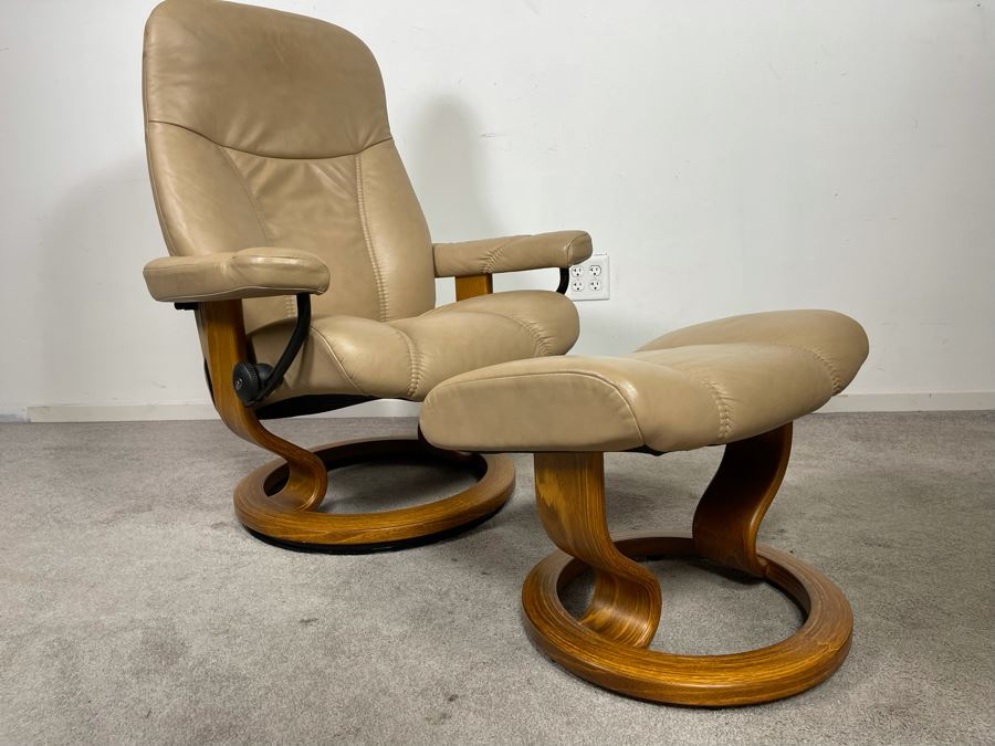 Ekornes Stressless Chair With Ottoman Made In Norway