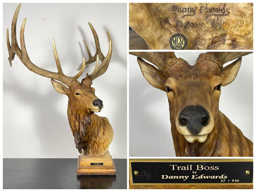 Limited Edition Resin Elk Sculpture Titled 'Trail Boss' By Danny Edwards 27 Of 950