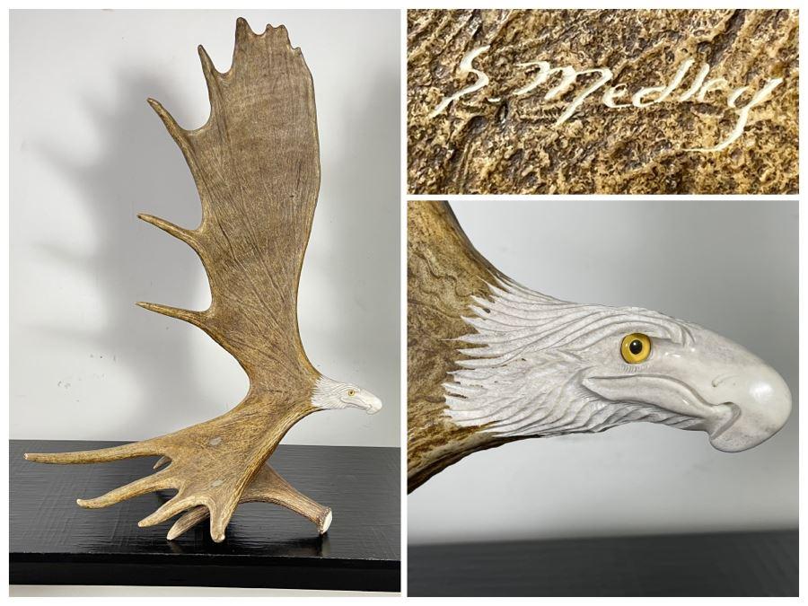 Impressive Large Shari Medley Hand Carved Moose Antler Sculpture Of Soaring Bald Eagle 34H X 24W X 20D