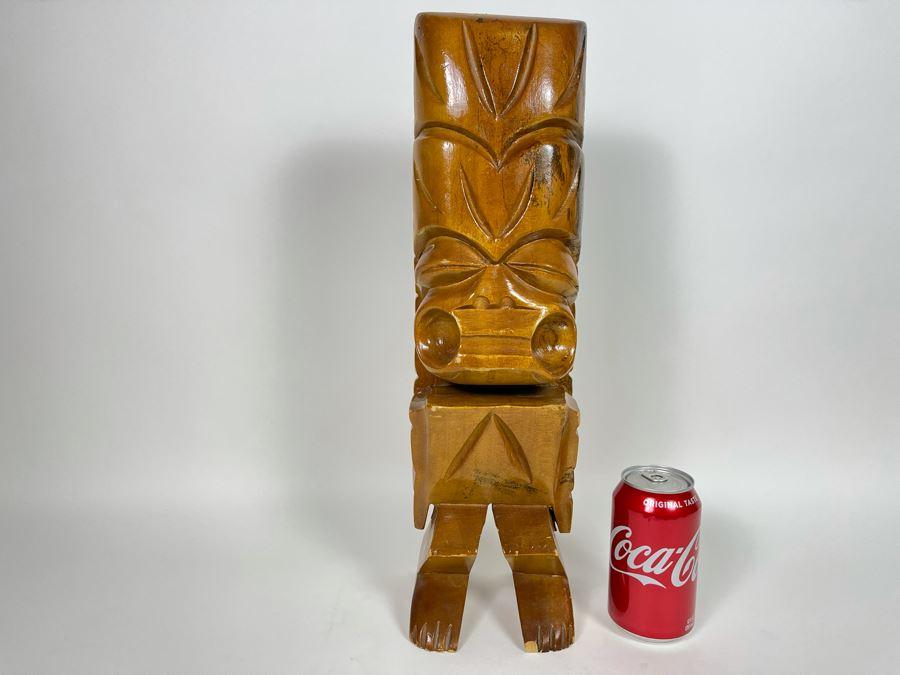 JUST ADDED - Vintage Wooden Hawaiian Tiki Statue 18H