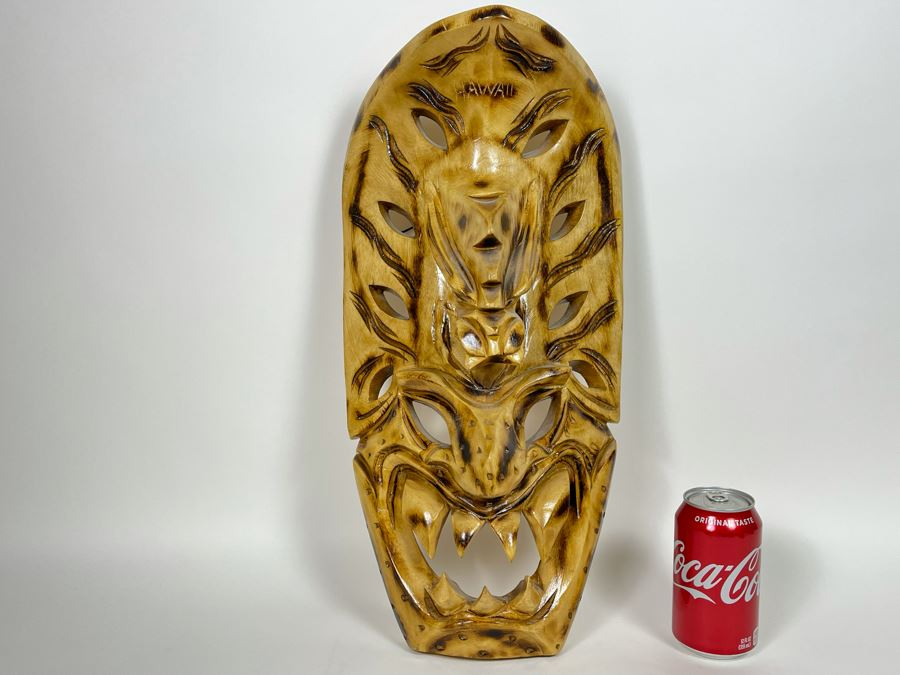 JUST ADDED - Vintage Wooden Hawaiian Carved Mask 19H