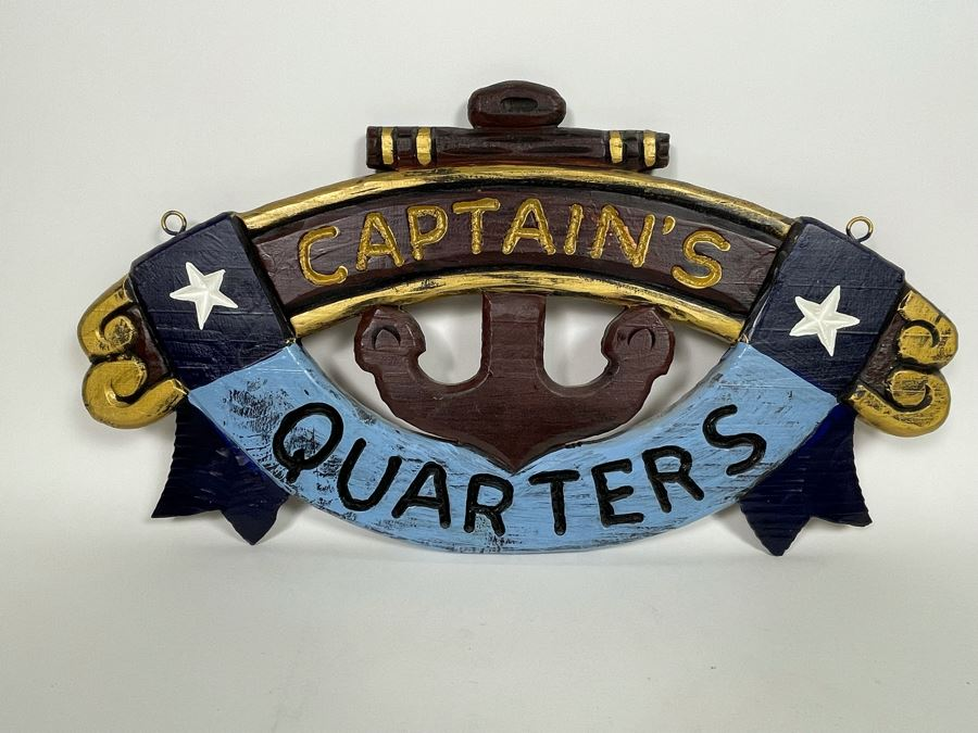 JUST ADDED - Wooden Captain's Quarters Sign 21W X 11H