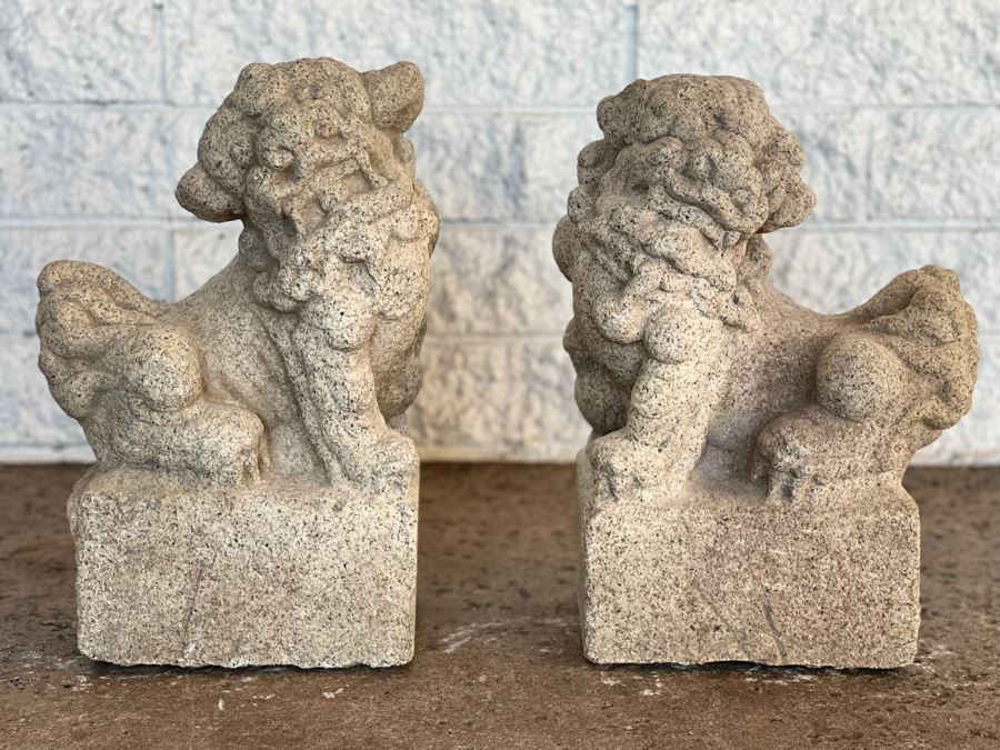 Antique Chinese Carved Stone Foo Dogs 11W X 7D X 15H