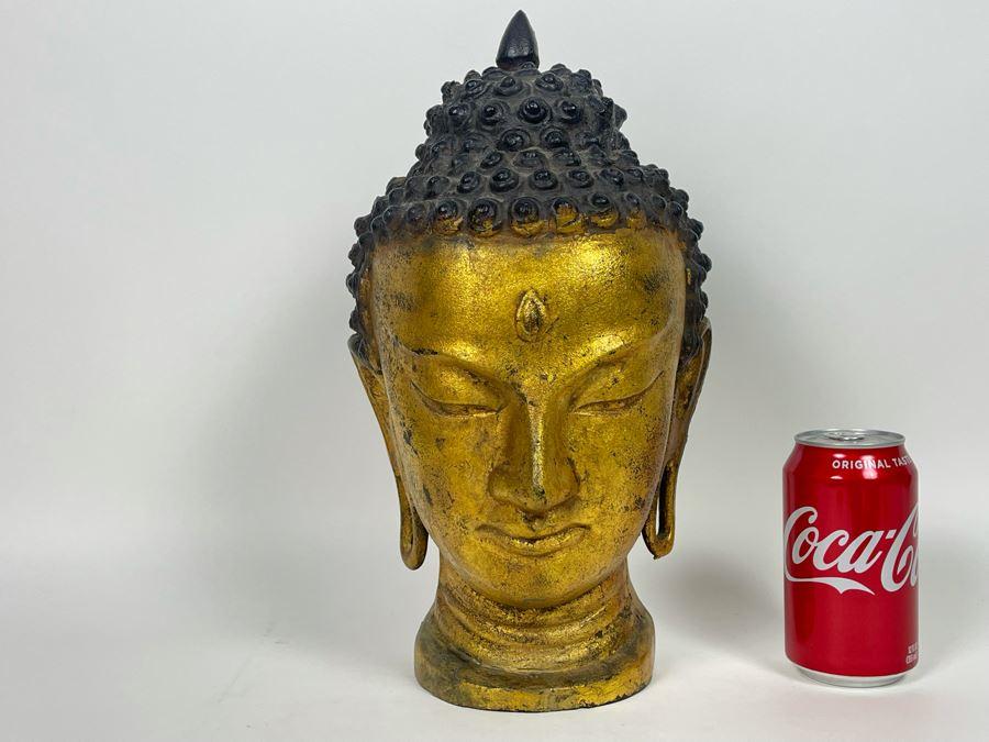 Old Gilt Metal Buddha Statue 8W X 14H