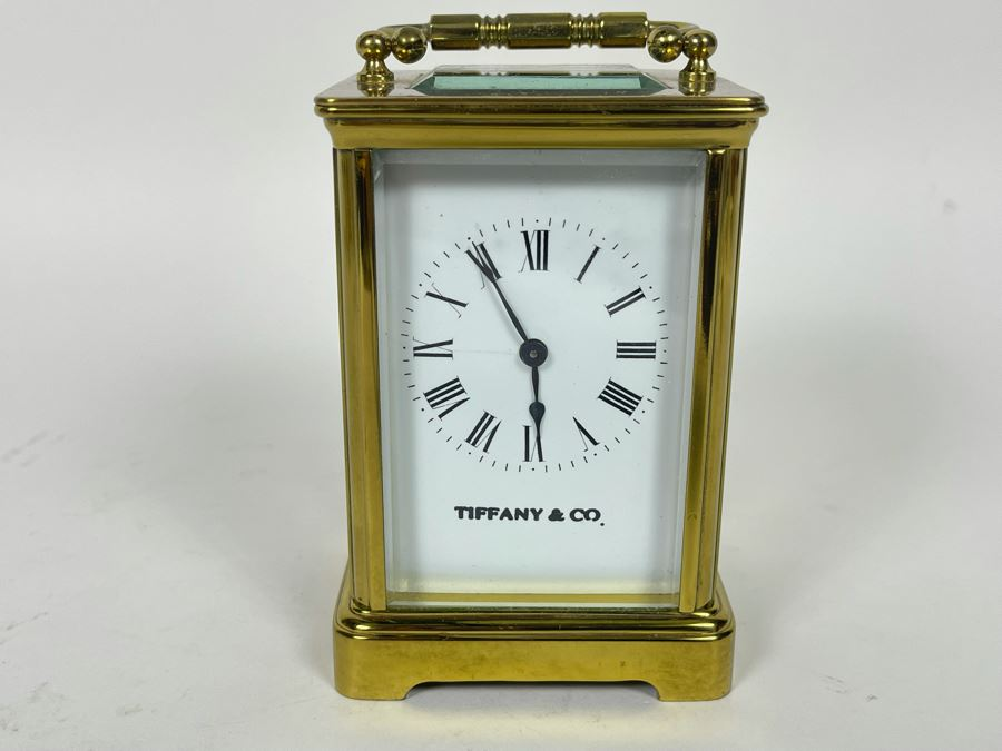 Brass Tiffany & Co Mechanical Carriage Clock Made In France With Key Working (Click To See Video) 3W X 3D X 5H