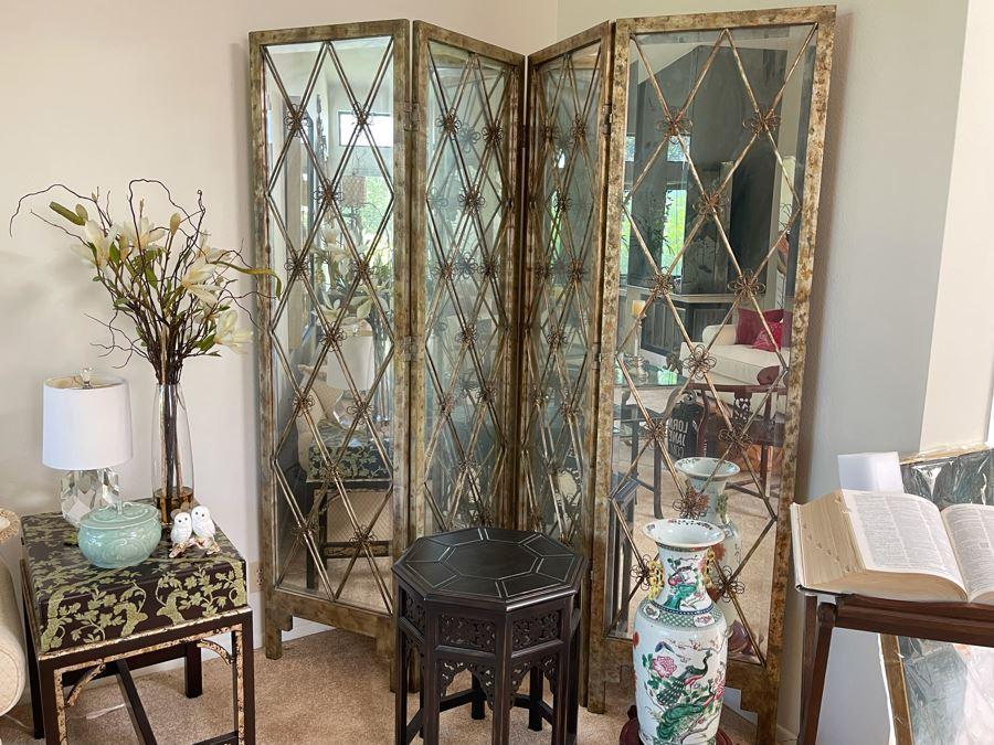 John-Richard Gilt Metal And Mirrored Glass 4-Panel Folding Room Divider Screen Very Heavy 88W X 82.5H