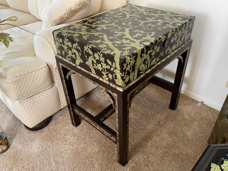 Side Table With Hinged Top For Storage 18W X 24D X 27H