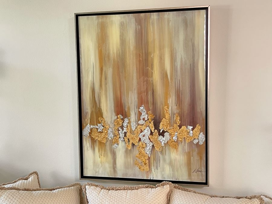 John-Richard Wall Decor Artwork By Jackie Ellens Lustrous Haze Highlighted By Textural Gold And Silver Leaf 37.5W X 48.5H Retails $1,789