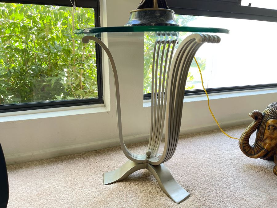 Metal Base Side Table With Glass Top 22W X 24H