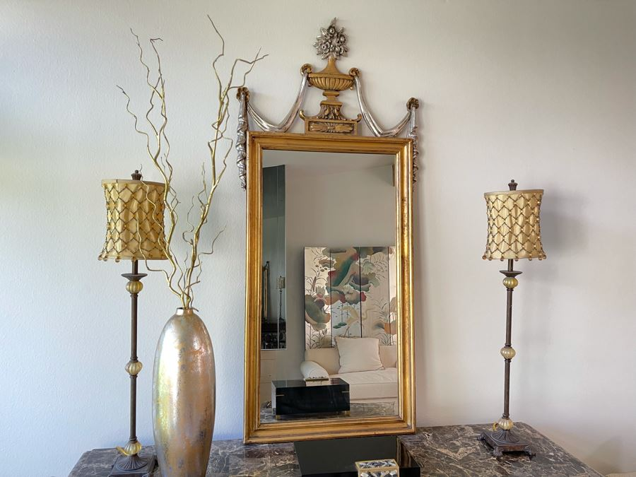Gilt Wooden Wall Mirror By Francisco Hurtado Spain 27W X 59H