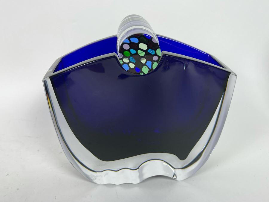 Rare Baccarat Crystal Blue Oceanie Flower Vase France 7 7/8'H (Heavy) Designed By Thomas Bastide Retails $2,000