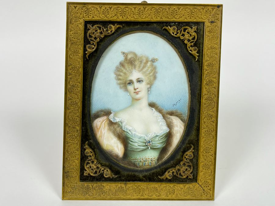 Antique Hand Painted Porcelain Portrait In Old Gilt Metal Frame From Collection Of Comtesse-Remy De Turique 4 X 5