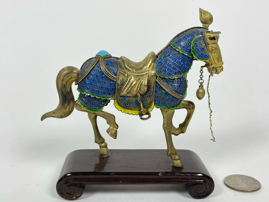 Vintage Chinese Silver Cloissone Horse On Wooden Stand Signed Silver Made In China 147.8g