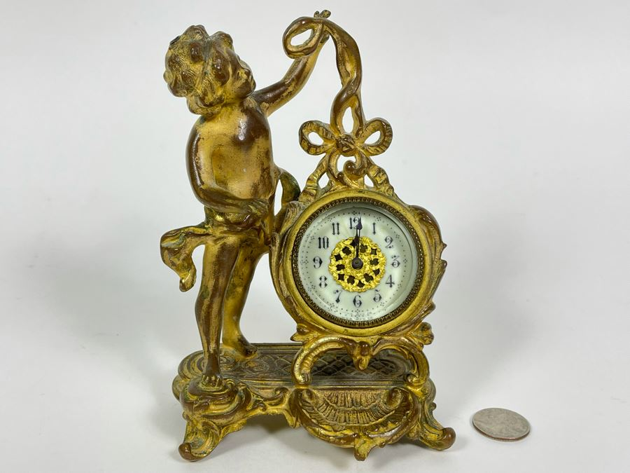 Antique French Working Mechanical Desk Clock With A Figure Of A Boy Gilded Bronze Metal MSB MFG CO 4.5W X 3.25D X 7H