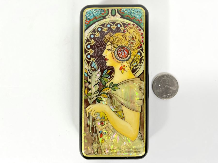 Fine Handmade Signed Russian Lacquer Box Art Nouveau Period Style After Alphonse Mucha With Inlaid Mother Of Pearl Design 2.25W X 5L X 1H