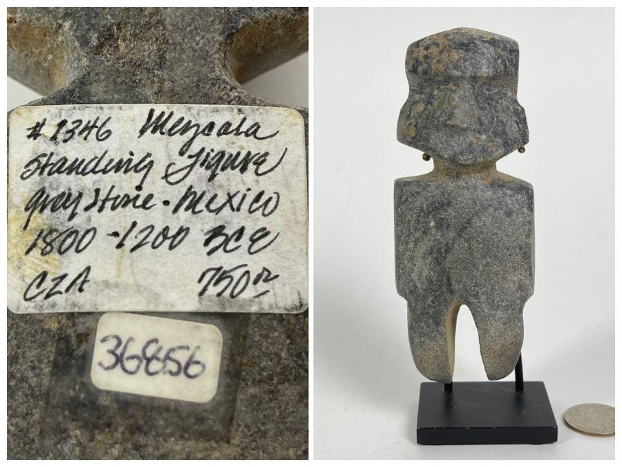 Ancient Artifact Mezcala Standing Figure Grey Stone Mexico 1800-1200 BCE Before Christ Retails $750