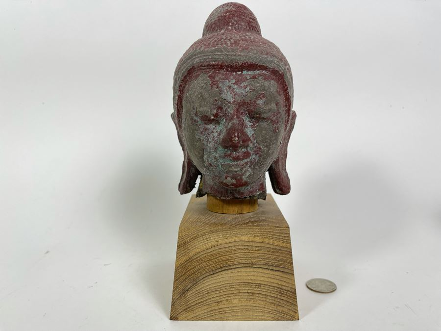 Old Chinese Buddha Head On Wooden Display Stand - Appears To Be Originally Gilded 7H (With Stand 9H)