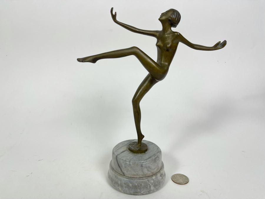 Art Deco Bronze Sculpture Of Dancer Signed Lorenz 9H