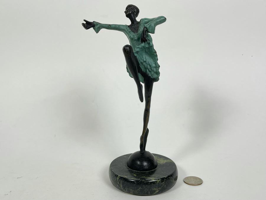 Josef Lorenzl (Austria, 1892-1950) Art Deco Bronze Dancer Sculpture Titled Dancer, 1925 8.5H
