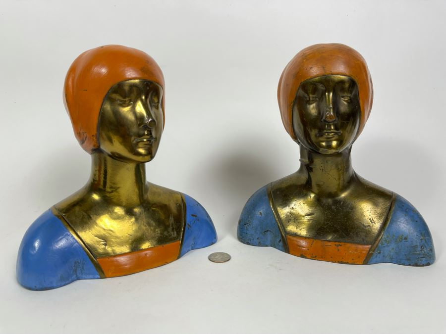 Pair Of Art Deco 1915 Bronze Clad Bust Of Woman From Pompeian Bronze Co 8.5W