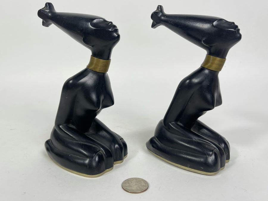 Pair Of Art Deco African Woman Sculptures 3W X 4D X 6.5H