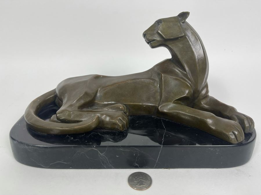 Henry Moore Art Deco Mountain Lion Panther Bronze Signed H. Moore 11W X 6D X 6H