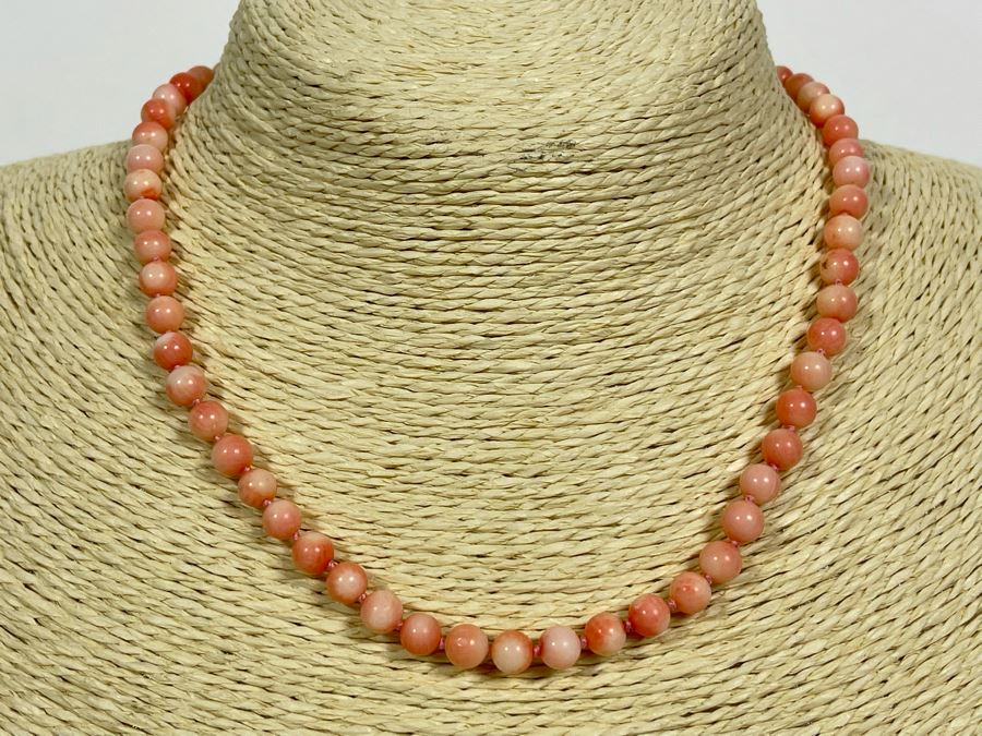 Angel Skin Coral Bead 16' Necklace With 14k Gold Clasp