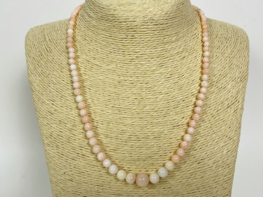 Graduated Angel Skin Coral 19' Necklace With 14K Gold Clasp