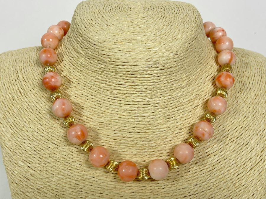 Large Pacific Angel Skin Coral Beaded 15.5' Necklace With 14K Gold Clasp And 14K Gold Beads 12.5mm Coral Beads