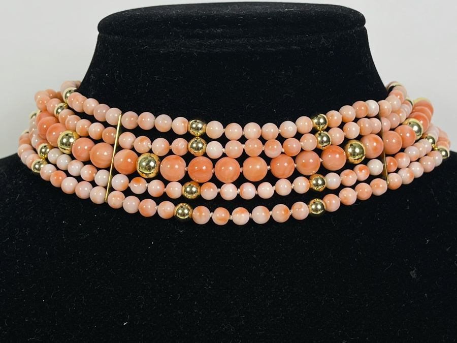 Five Strand Enhanced Angel Skin Coral Beaded 15' Dog Collar Style Necklace With 14K Gold Clasp And Spacers 92.7g