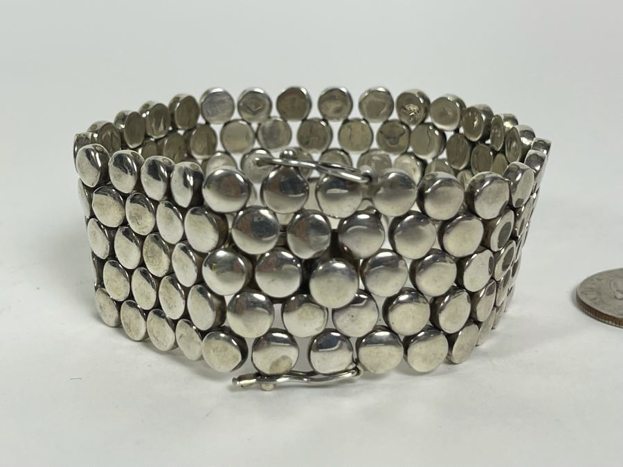 Heavy Sterling Silver Modernist Bracelet Signed Mexico 7.5L 123.2g