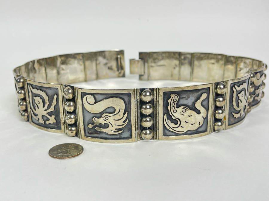 Sterling Silver Belt Signed Mexico 28L 236.8g