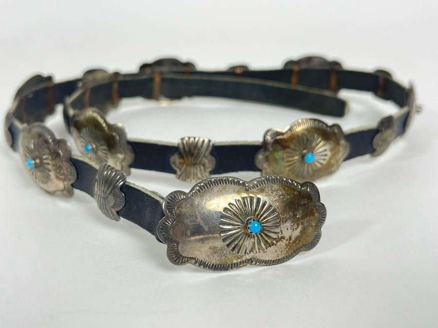 Signed Native American Sterling Silver And Leather Concho Belt Signed LY 45.5g