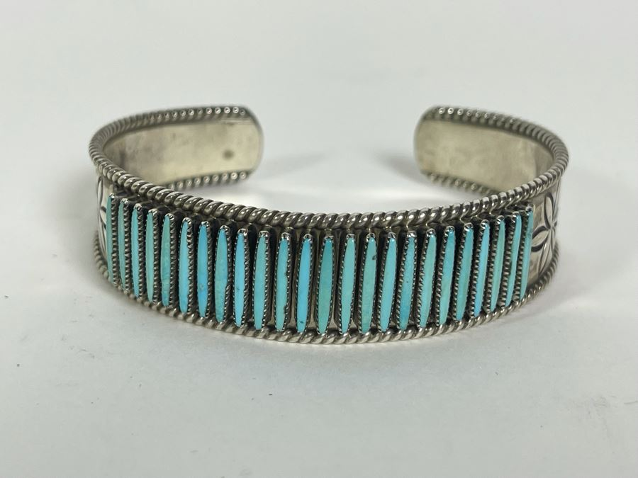 Signed Native American Sterling Silver Turquoise Cuff Bracelet Shirley Quam Zuni 25g