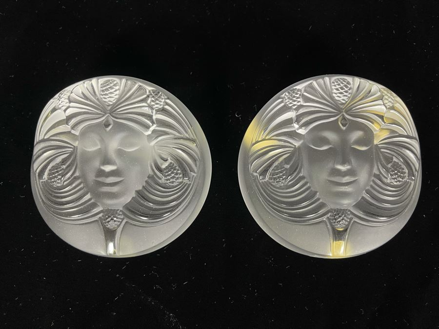 Signed Pair Of Lalique France Crystal Paperweights With Goddess Psyche Face 3.5W Retails $520 Each