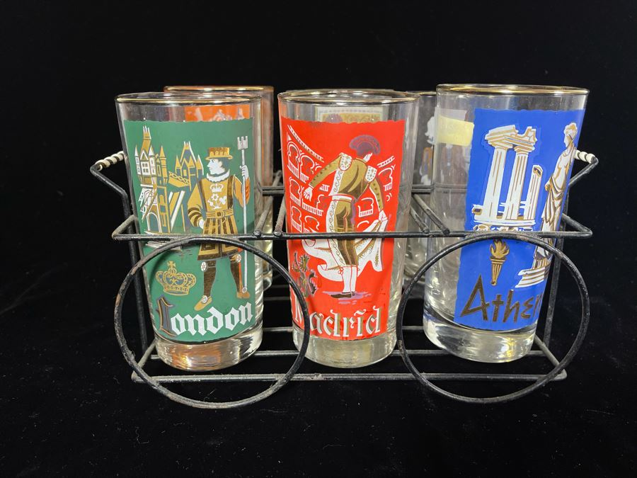 JUST ADDED - 1950s Glasses With Metal Caddy
