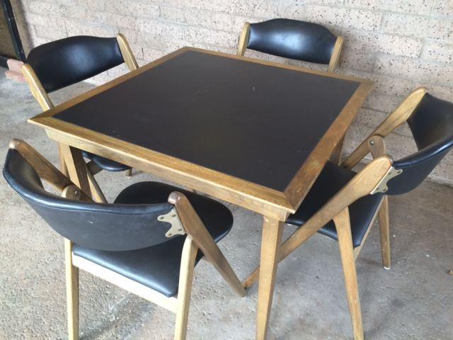 MidCentury Modern Coronet Wonderfold Card Table With Four Folding - Mid century modern card table