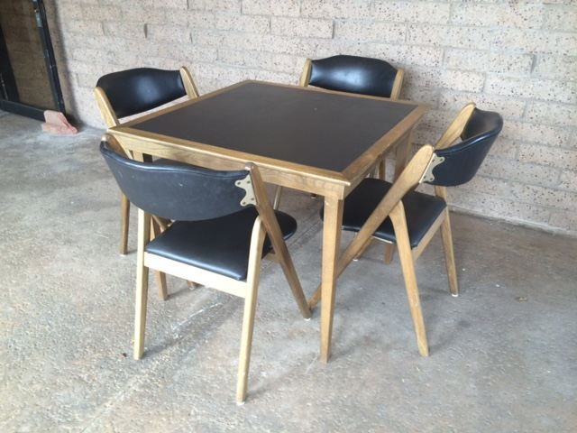 MidCentury Modern Coronet Wonderfold Card Table With Four Folding - Mid century modern card table
