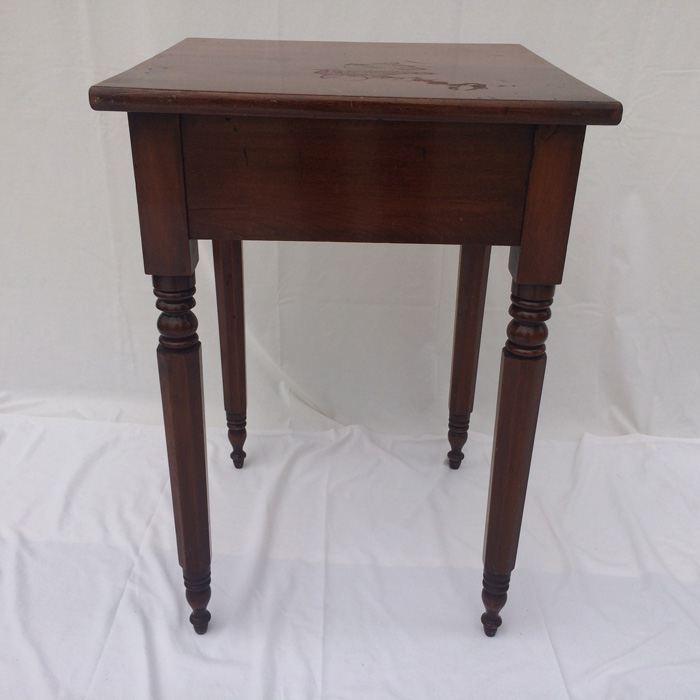 Antique Primitive End Table, Single Drawer [Photo 1]