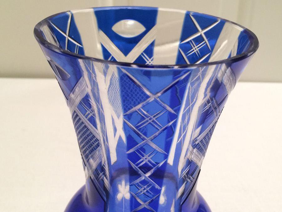Vintage Cobalt Blue Cut Glass Vase