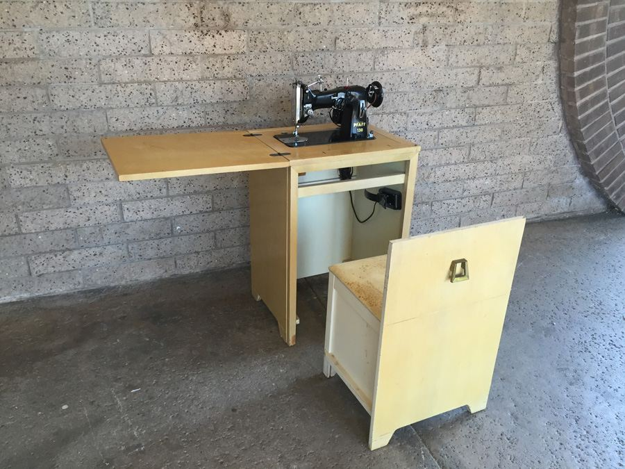 Vintage Pfaff 130 Sewing Machine And Cabinet With Built In Chair And Sewing