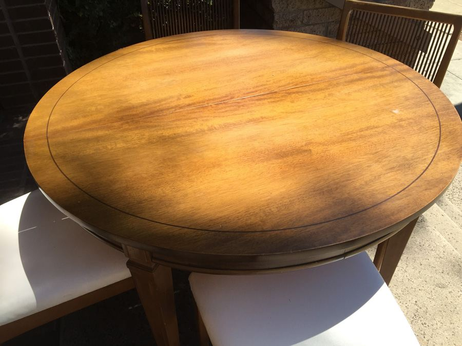 Vintage Bernhardt Furniture Co Round Dining Table With 4 Chairs And 3 Leaves Lenoir Nc