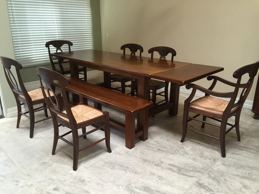 (6) Pottery Barn Napoleon Rush Italy Chairs With Table And Bench [Photo 1