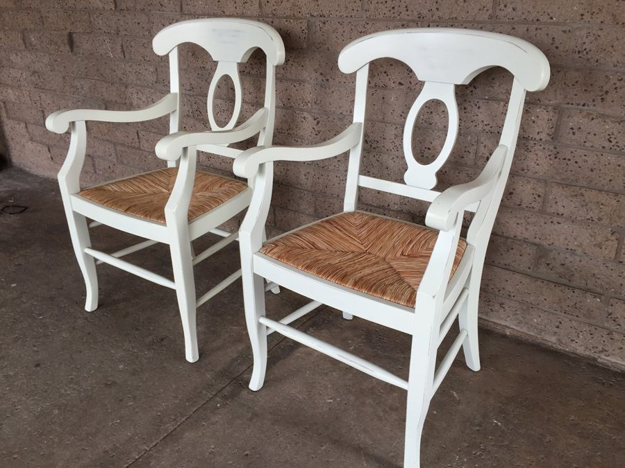 Pair Of White Pottery Barn Napoleon Rush Seat Chairs Made In Italy (Chairs  Retail For