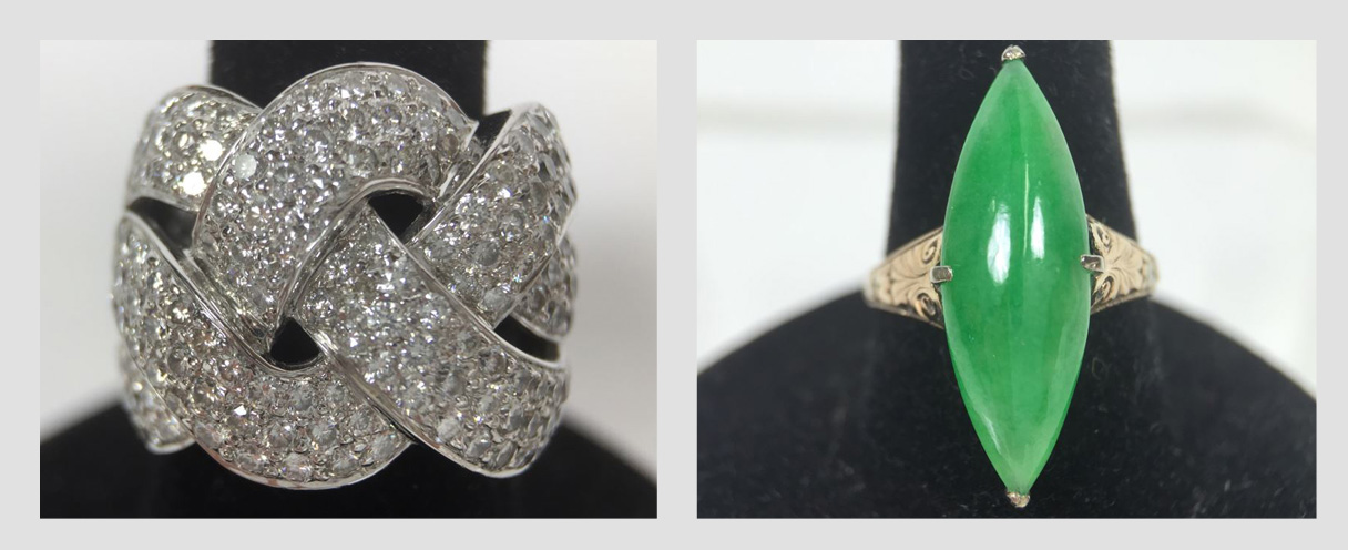 Carlsbad Aviara Full House Estate Sale: Featuring Fine Jewelry Including A Platinum Diamond Ring, 14k Gold Jade Ring, 14k Gold Movada Watch With 14k Gold Watch Band And More