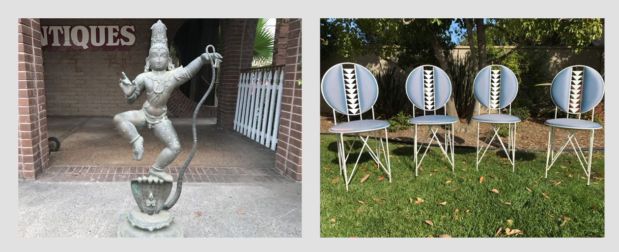 Combined Estate Sale: Featuring An Antique Indian Bronze Statue Of Krishna Dancing on Kaliya And Frank Lloyd Wright Midway Garden Chairs By Cassina